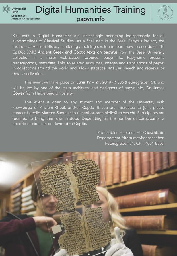 Digital Humanities Training: flyer